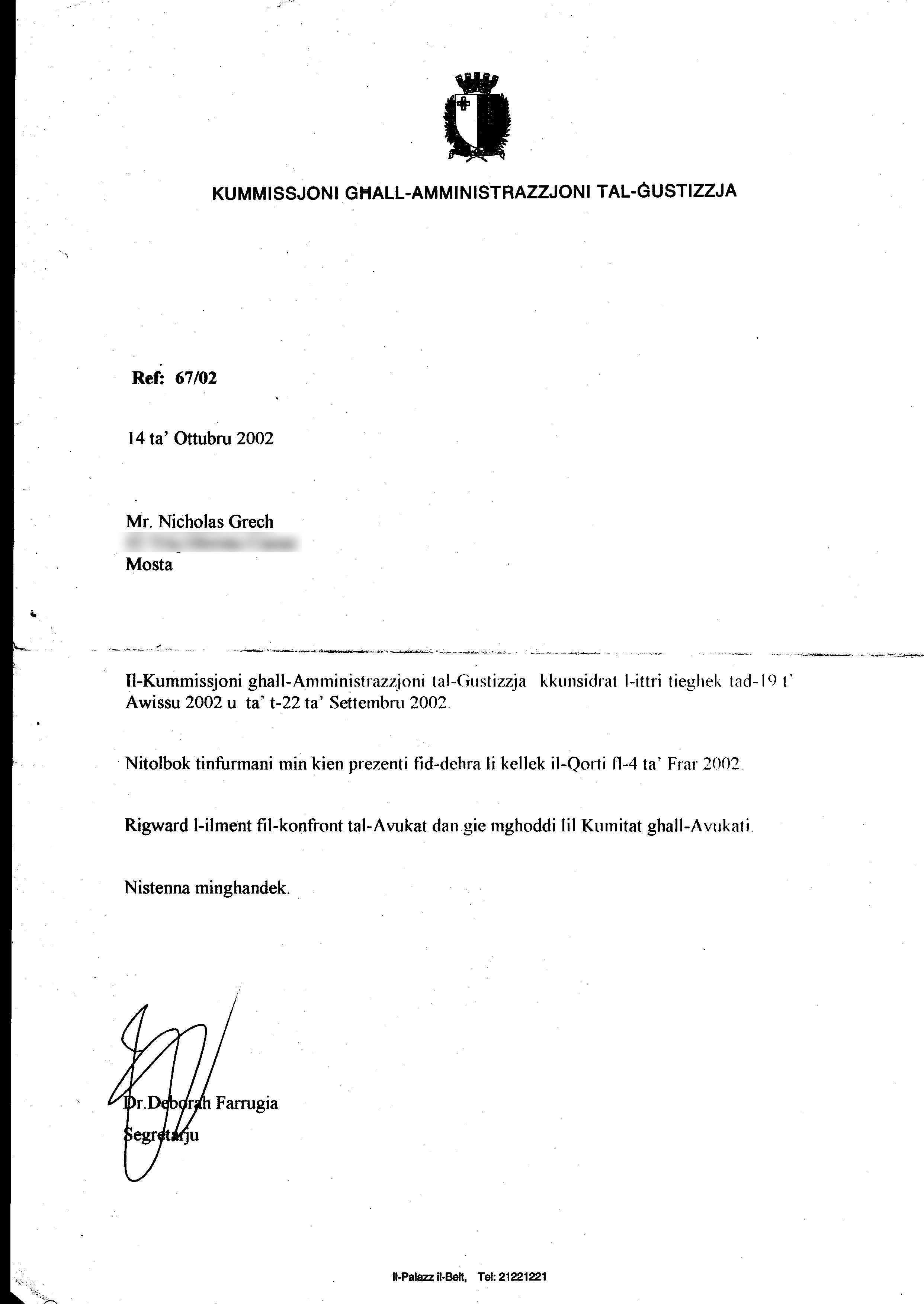 Letter from the Commission for the Administration of Justice dated 14th October 2002 asking for those who witnessed the incidents on 4-Feb-20
